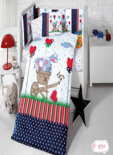 Komfort Home Bebek Uyku Seti 8 Parça Ranforce %100 Pamuk / Rüya Renkli
